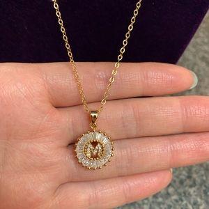 """Jewelry - COPY - New 18K gold """" M """" CZ Diamond Necklace"""